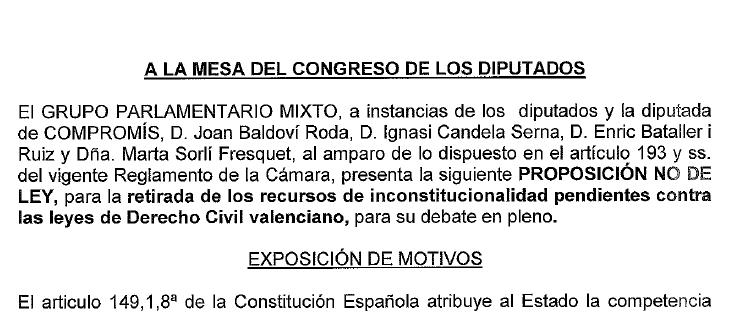 Compromís pide en el Congreso de los Diputados la retirada de los recursos de inconstitucionalidad contra las leyes de Derecho civil valenciano