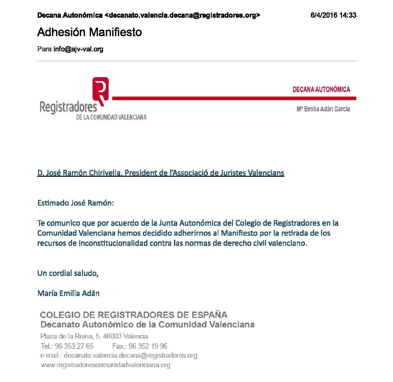 Adhesión Manifiesto Impresión Registradores