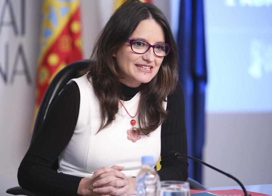 Rueda de prensa de la Vicepresidenta del Consell, Monica Oltra, posterior al pleno del Consell. 01/04/2016. Foto: J.A.Calahorro.