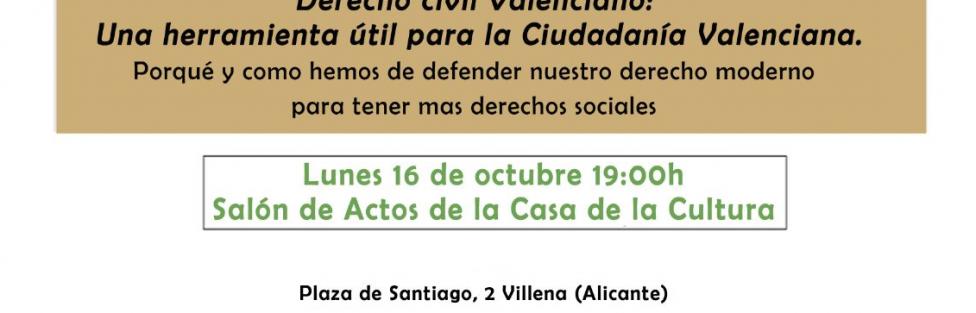 Conferencia en Villena sobre Derecho Civil Valenciano